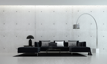 3D rendering interior design of modern living room and concrete wall texture background