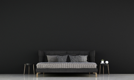 Modern bedroom interior design and black concrete texture wall pattern background