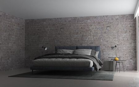 The interior design of modern bedroom and brick wall background
