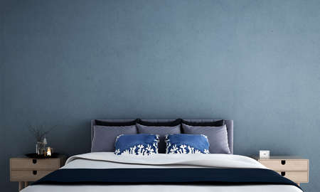 Modern interior design of bedroom and blue wall texture background