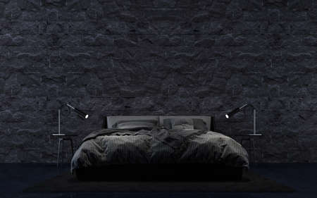 3D rendering modern bedroom interior design and black stone  wall texture background