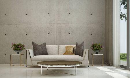 3D-Rendering Innenarchitektur von minimalem Wohnzimmer und Betonwand Standard-Bild