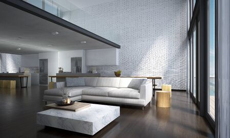 The lounge and double space living room and kitchen interior design and concrete wall background Banque d'images