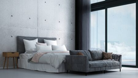 Innenarchitektur des modernen tropischen Schlafzimmers und Betonwandhintergrund