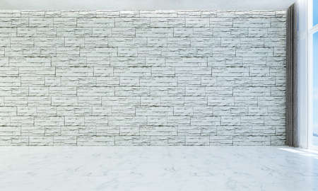 The empty living room interior and white brick wall background Archivio Fotografico