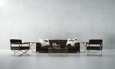 Modern loft living room interior and concrete wall background