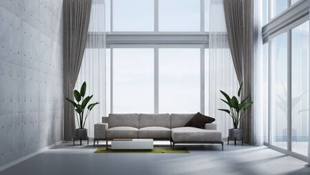 The tropical interior design of double space living room and concrete wall and sea view background