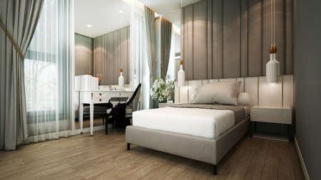 Modern beautiful bedroom interior design/3d render