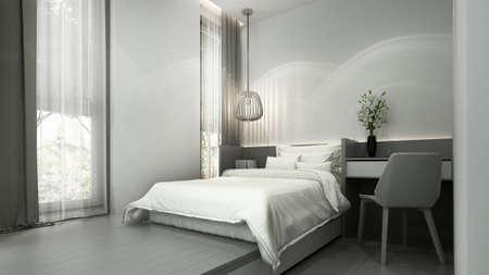 Modern minimal white bedroom interior design/3d render