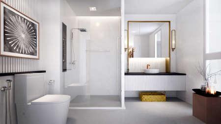 Modern cozy white toilet and bathroom interior design/3d render