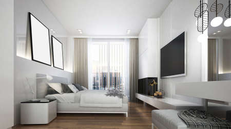 Modern cozy white bedroom interior design/3d render