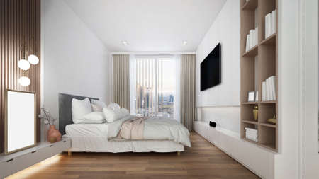 Modern white bedroom interior design space and tv console/3d render