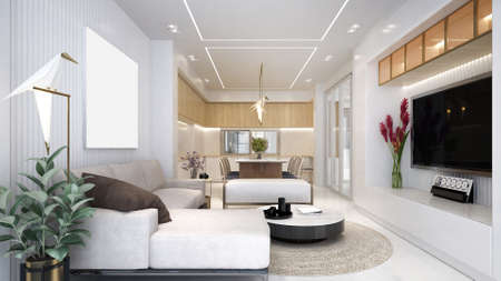 Modern luxury interior design of living and dining room and tv console/3d render Archivio Fotografico
