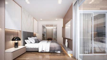 Modern luxury interior design of bedroom and walk in closet space/3d render