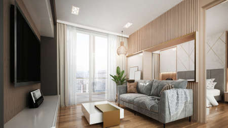 Modern luxury interior design of penthouse living room and bedroom/3d render Archivio Fotografico