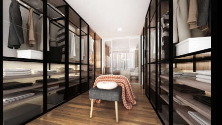 Modern luxury interior design of walk in closet and wardrobe and display cabinets/3d render