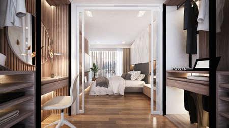 Modern luxury interior design of walk in closet and bedroom space/3d render Archivio Fotografico