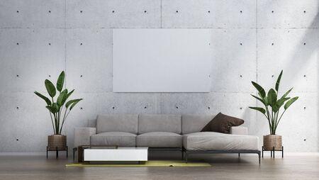 Wall mockup in scandinavian interior. Interior wall mockup. Wall art. 3d rendering, 3d illustration Archivio Fotografico
