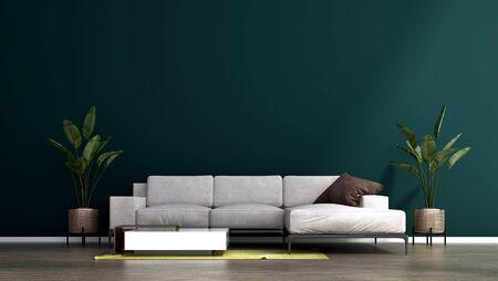 The green wall living room interior design.Wall mockup in scandinavian interior. Interior wall mockup. Wall art. 3d rendering, 3d illustration