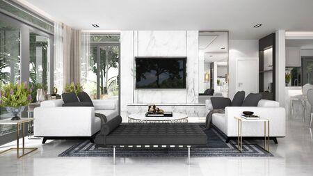 The luxury living room interior design.Wall mockup in scandinavian interior. Interior wall mockup. Wall art. 3d rendering, 3d illustration Archivio Fotografico