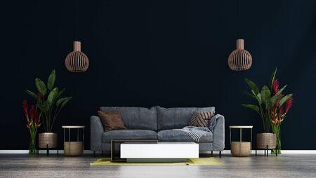 The black wall living room interior design.Wall mockup in scandinavian interior. Interior wall mockup. Wall art. 3d rendering, 3d illustration