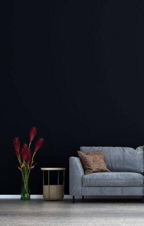 The minimal black wall living room interior design.Wall mockup in scandinavian interior. Interior wall mockup. Wall art. 3d rendering, 3d illustration Archivio Fotografico
