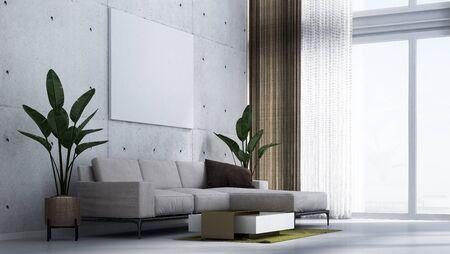 The minimal concrete wall living room interior design.Wall mockup in scandinavian interior. Interior wall mockup. Wall art. 3d rendering, 3d illustration
