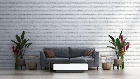 The white brick wall living room interior design.Wall mockup in scandinavian interior. Interior wall mockup. Wall art. 3d rendering, 3d illustration
