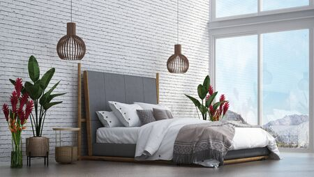 The bedroom interior design. Wall mockup in scandinavian interior. Interior wall mockup. Wall art. 3d rendering, 3d illustration Archivio Fotografico