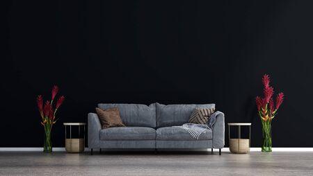 The living room interior design. Wall mockup in scandinavian interior. Interior wall mockup. Wall art. 3d rendering, 3d illustration