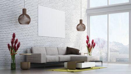 The living room interior design. Wall mockup in scandinavian interior. Interior wall mockup. Wall art. 3d rendering, 3d illustration. Brick wall pattern