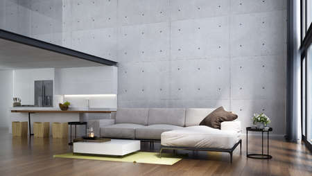 Modern tropical living room interior design and white concrete wall texture background