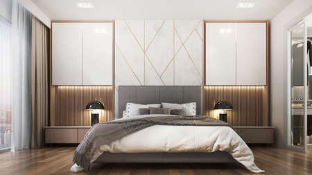 Modern cozy interior design indoor of bedroom and sideboard and chest of drawer Archivio Fotografico