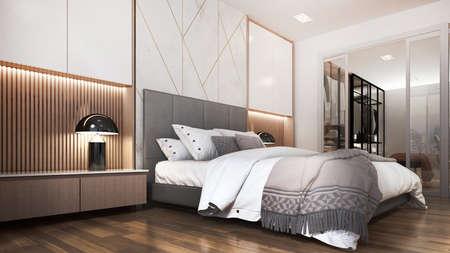 Modern cozy interior design of minimal bedroom and walk in closet Archivio Fotografico