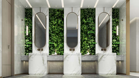Modern cozy interior design indoor of public toilet and green wall background
