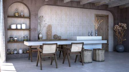 The dining room interior design.Wall mock up in scandinavian interior. Interior wall mock up. Wall art. 3d rendering
