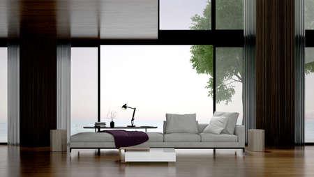 Modern living room interior design.Wall mock up in scandinavian interior. Interior wall mock up. Wall art. Sea view. Sea background. 3d rendering Archivio Fotografico