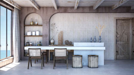 Dining room interior design.Wall mock up in scandinavian interior. Interior wall mock up. Wall art. 3d rendering