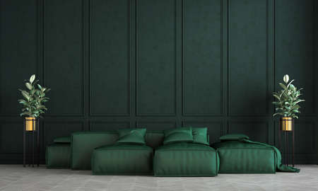 Modern green living room interior design and green pattern wall background Archivio Fotografico