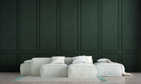 Modern living room interior design and green pattern wall background Archivio Fotografico