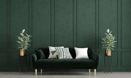 Modern cozy living room interior design and green pattern wall background Archivio Fotografico