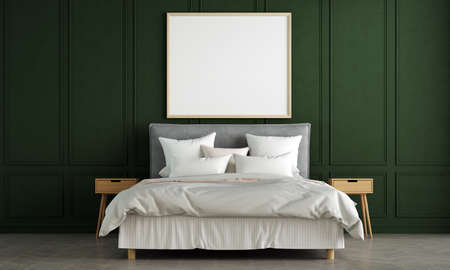 Modern bedroom interior design and green pattern wall background