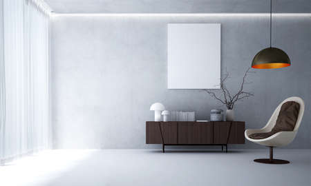 The minimal mock up living room interior and concrete wall background