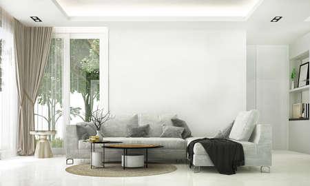 Modern cozy living room interior and garden view background Archivio Fotografico