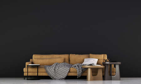 minimal loft living room interior and black wall background