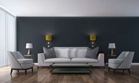 Modern beautiful mock up living room interior and grey wall background Archivio Fotografico