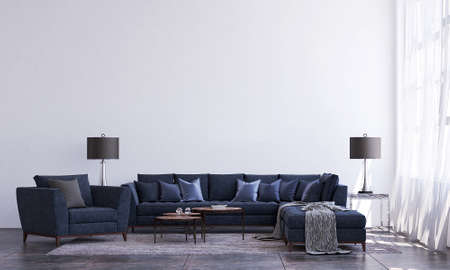 modern luxury interior design of living room and white wall background Archivio Fotografico