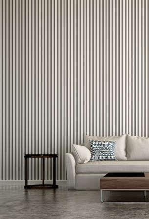 The mock up interior design of modern living room and tile wall background
