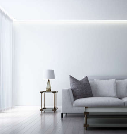 Modern minimal living room interior and white wall background