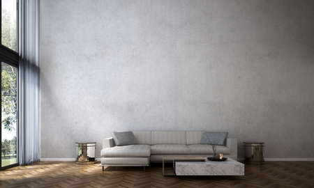 Modern cozy luxury living room interior design and concrete wall Archivio Fotografico